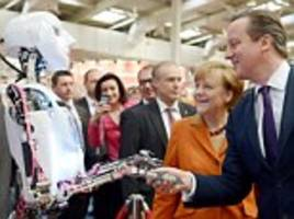 he shakes hands, he's 'user-friendly and designed for human interaction' and he even tweets selfies: can you tell david cameron, and the robothespian apart as they meet at tech show?